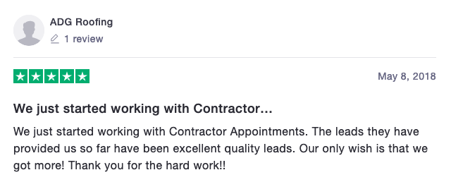 ADG Roofing Contractor Appointments Review